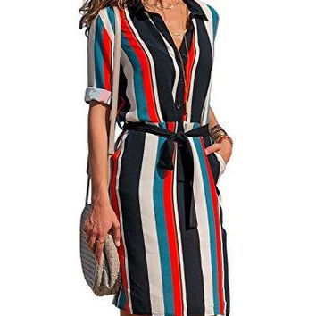 Happy Sailed Women Stripe Print Roll up Sleeve Loose Button Down T-Shirt Casual Short Dress with Pocket