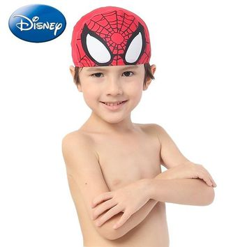 Disney Spider-man Kid Swimming Caps Hat Children Water Cube Grids Waterproof Ear Long Hair Protection  Swim Pool Size 2years