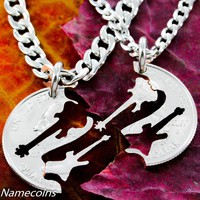 Electric and Bass Guitar Interlocking relationship musical instrument set, hand cut coin