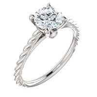 Moissanite Diamonds Engagement Ring| Platinum| Twisted Rope Design| Peak-a-Boo Diamonds| Contemporary