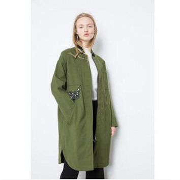 Fashion long section of canvas baseball women embroidery frock coat