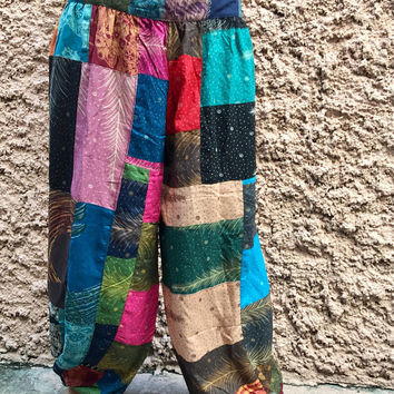 Festival Patchwork Boho Hippie Harem Pants Bohemian vegan style Beach Summer clothing Long Trousers One of kind unique Gift for women men