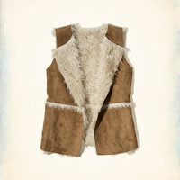 Girls Shearling Suede Vest | Girls Clearance | HollisterCo.com