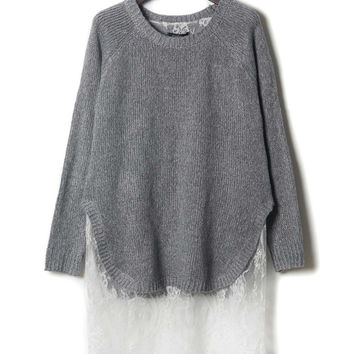 Gray Lace Panel Slit Side Longline Knitted Sweater