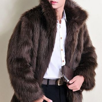 ROPALIA Men Long Sleeve Warm Coat Autumn Winter Faux Fur Jacket Men Luxury Outerwear