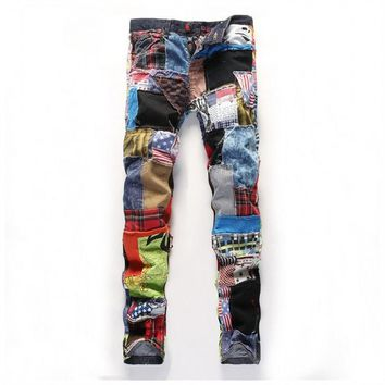 Men's personality patchwork spliced ripped denim jeans Male fashion slim colored patch buttons fly straight pants fashion jeans