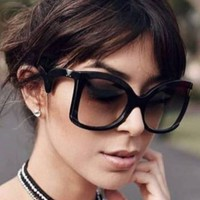 Large Retro VINTAGE Aviator Cateye Fashion Butterfly Shades Women Sunglasses NEW
