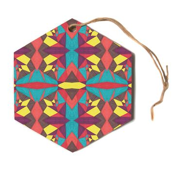 "Empire Ruhl ""Abstract Insects"" Multicolor Hexagon Holiday Ornament"