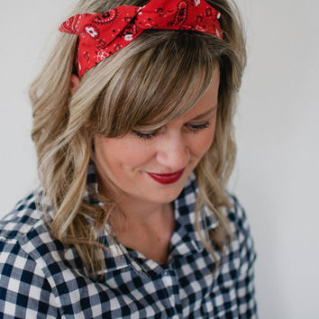 Dolly Bow Red Bandana Rockabilly Wire Headband Flexible Pin Up Teen Bandanna  Headband Women Girl 40s 166f3967937