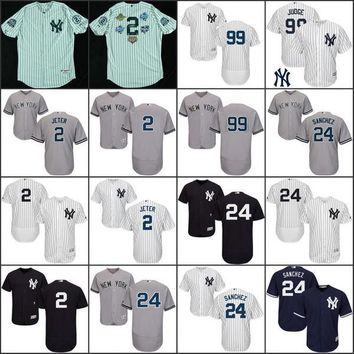 be62acd8dcda 2017 Men s Flexbase New York Yankees 99 Aaron Judge 2 Derek Jeter 24 Gary  Sanchez 7