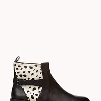 FOREVER 21 Standout Biker Booties Black/White 8
