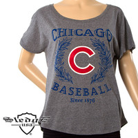 Chicago Cubs Women's Leather Team Logo Tri-blend Heather Boyfriend T-Shirt by Sledge USA - MLB.com Shop