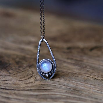 Rainbow Moonstone Necklace - Oxidized Sterling Silver Moonstone Pendant - Silversmith Necklace Claw Jewelry - Artemis Necklace