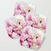 summer peonies Coaster by sylviacookphotography