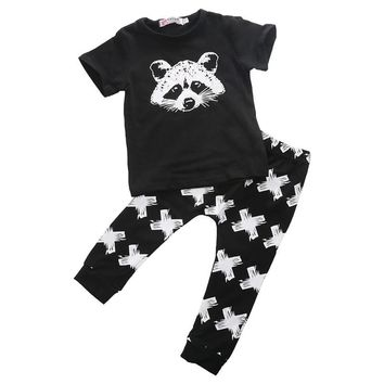 Cute Little Raccoon Baby Girls Boys Summer Clothes Sets Causal Cotton Tops Wear + Long Printing Pants Newborn Outfits Clothes