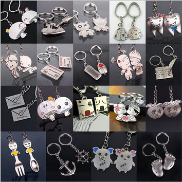 1 pair Creative couple keychain for keys Cartoon car key chain Ring holder Valentines Birthday Gifts for men lovers keyring 2015