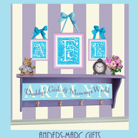 """Personalized 24"""" Lavender Violet Shelf with Hooks* Add Kids Name * Color Options * Baby Wall Decor Quote Sign * Daddy's Girl & Mommy's World"""