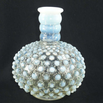 Fenton Moonstone Opalescent Hobnail Perfume Bottle or Vase