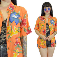 vintage 90s orange floral HAWAIIAN shirt meanswear beachy summer shirt pastel grunge blouse top medium