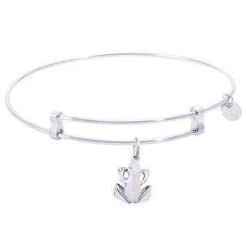 Sterling Silver Confident Bangle Bracelet With Frog Charm