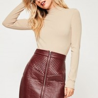 Missguided - Nude Ribbed High Neck Crop Top