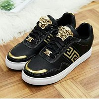 Versace Trending Women Men Casual Leather Stylish Color Matching Inner Heighten Shoes Black I13142-1