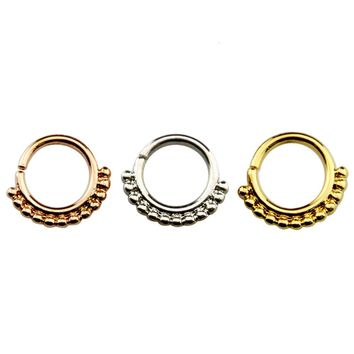 Brass Septum Clicker Silver/Gold/Rose Gold 16g Nose Ring Piercing Body Jewelry