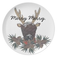 Reindeer, Holidays, Christmas, Whimsical Party Plate