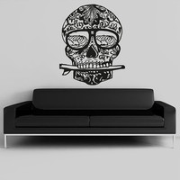 Wall Decal Vinyl Sticker Decals Art Decor Design Surf Waves Skull Tattoo Face  Pattern Damask  Salon Studio Bedroom Gift Dorm Office(r1030)