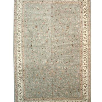 EORC Hand-knotted Wool & Silk Blue Traditional Oriental Floral Tabriz Rug