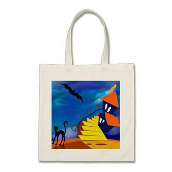 Neon Blue Brown Yellow Haunted House Tote Bag