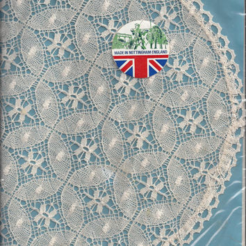 Vintage Nottingham, England, Large Cluny Lace Round Doily in Ivory, Duchess by Wetherall, 11.5 Inches