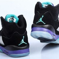 Hot Air Jordan 5 Retro Women Shoes Black Purple