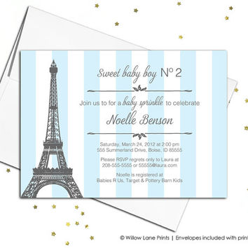printable baby boys shower invitation - blue stripes - paris baby shower invites - printed baby sprinkle invitation (711)