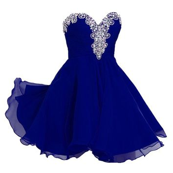 VILAVI Women's A-line Short Chiffon Rhinestone Homecoming Dresses 2 Royal Blue