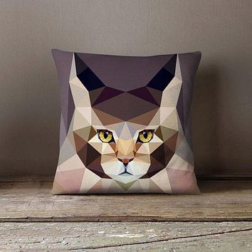 Geometric Cat Main Kun Pillowcase | Decorative Throw Pillow Cover | Cushion Case | Designer Pillow Case | Birthday Gift Idea For Him & Her