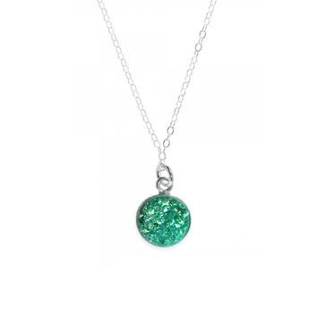 Teal Crystal Faux Druzy Necklace