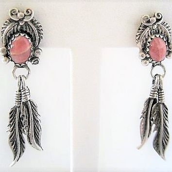 Sterling Two Feather Earrings, Native American, Pink Agate Stones, Sterling  Feathers, Boho Pierced Dangles