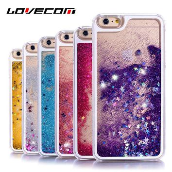VERY COOL! iphone 4 4S 5 5S SE 6 6S Plus 7 8 Plus X Glitter Stars Liquid Quicks Hard Transparent Phone Case
