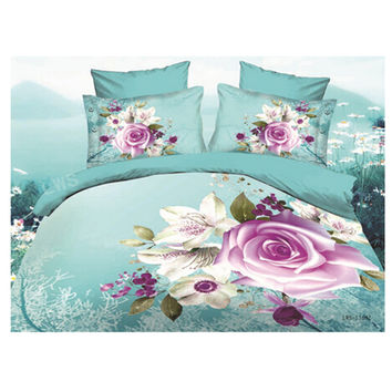 3D Queen King Size Bed Quilt/Duvet Sheet Cover Cotton reactive printing 4pcs 1.5M bed 30