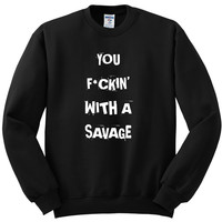 "Demi Lovato ""Sorry Not Sorry / You F*ckin' With a Savage"" Crewneck Sweatshirt"