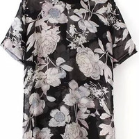 Black Chiffon Blouse with White FloralPrint
