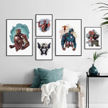 Canvas Painting Vintage Poster Watercolor Superhero Marvel Anime Iron Man Wall Art Pictures Canvas Pictures Home Decoration