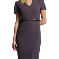 LE3NO Womens Fitted V Neck Short Sleeve Midi Dress with Faux Leather Belt