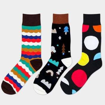 Happy Socks men With Fund England Wind Man Cotton Socks In Canister Leisure Time Male Socks Tide Socks 3 PAIRa