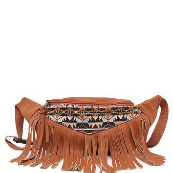 With Love From CA Fringe Fanny Pack - Womens Handbags - Brown - One