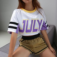 Women Loose Fashion Satin Letter Print Multicolor Short Sleeve T-shirt Crop Tops