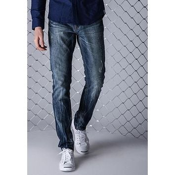 Jeans Men High Quality Casual Denim Cotton Biker Jean Regular Pants Trousers Slim Fit Clothing