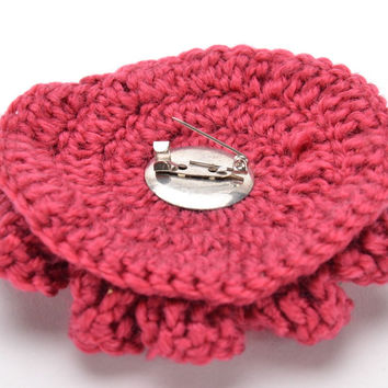 Designer handmade crochet brooch bright red clothes adornment ideas gift for her