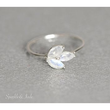 Sterling Silver Marquise Rainbow Moonstone Leaf 3 Stone Petite Band Ring